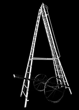 Aluminium telescopic wheeled ladder-2515